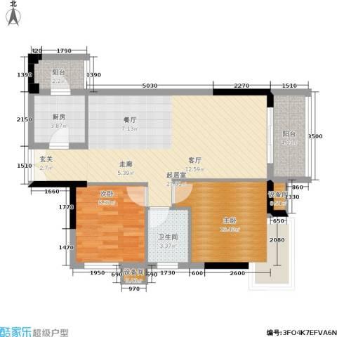 水墨林溪2室0厅1卫1厨70.12㎡户型图