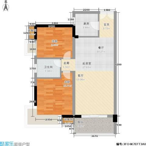 水墨林溪2室0厅1卫1厨68.21㎡户型图