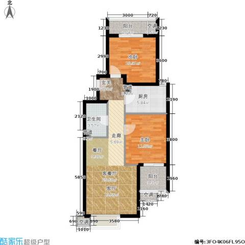 涧桥山2室1厅1卫1厨84.00㎡户型图