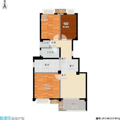兆地尊庭3室1厅2卫1厨115.00㎡户型图