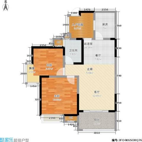 九洲上尚城2室0厅1卫1厨87.00㎡户型图