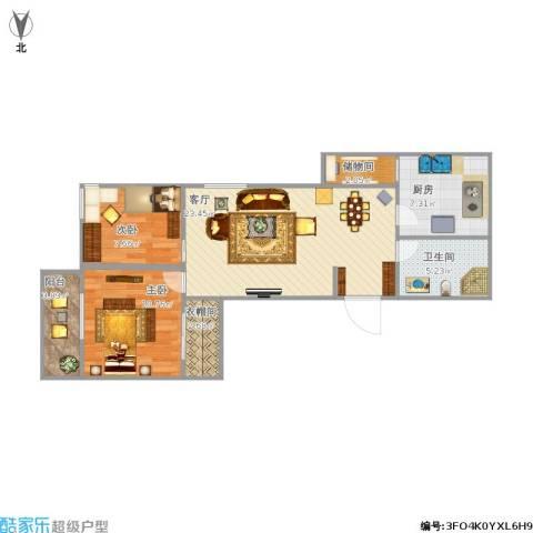 远洋德邑2室1厅1卫1厨86.00㎡户型图