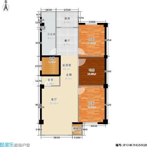 东升御景苑3室0厅1卫1厨136.00㎡户型图