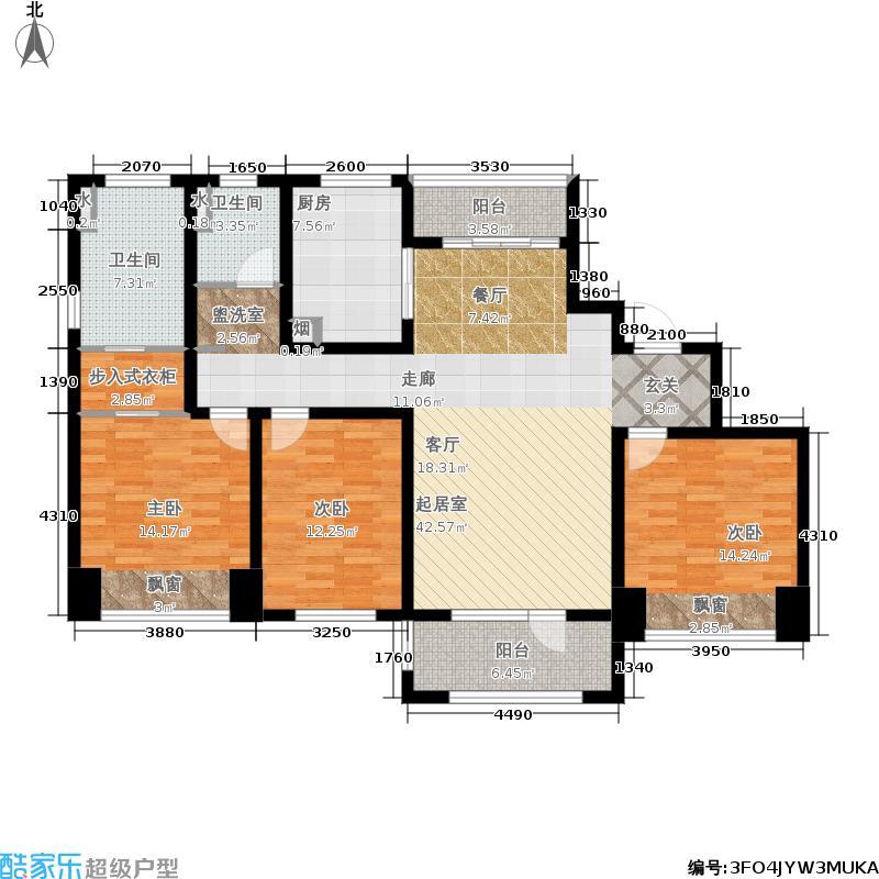 朗诗国泰城134.00㎡2号楼标准层C2户型