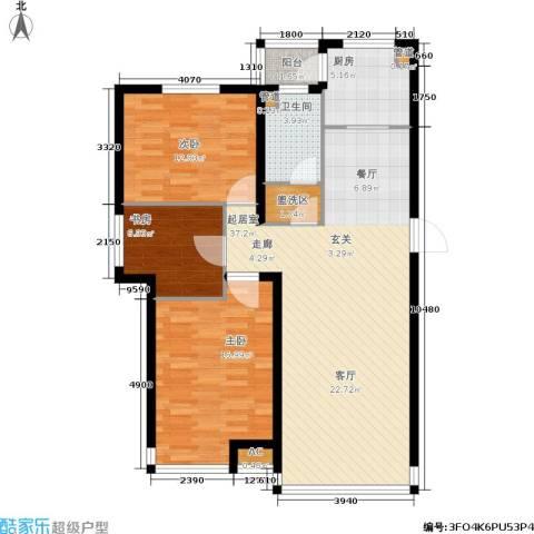 山水龙城3室0厅1卫1厨107.00㎡户型图