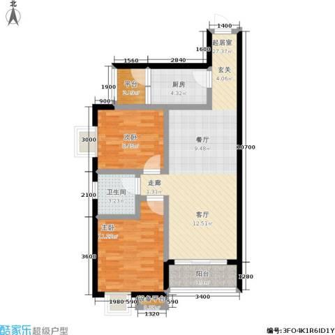 学府名城2室0厅1卫1厨90.00㎡户型图