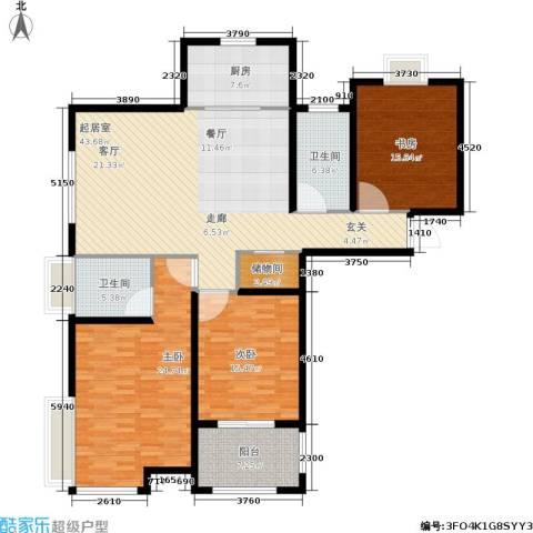 帝奥世伦名郡3室0厅2卫1厨143.00㎡户型图