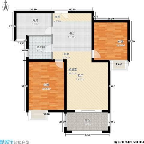 帝奥世伦名郡2室0厅1卫1厨98.00㎡户型图