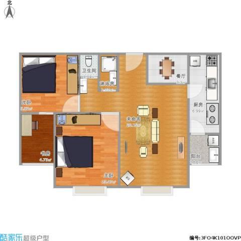 紫金新干线二期3室1厅1卫1厨95.00㎡户型图