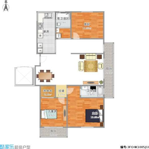 华南名苑3室1厅1卫1厨141.00㎡户型图