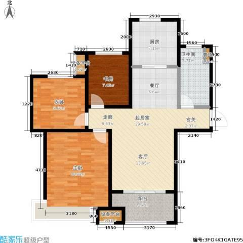 绿地世纪城3室0厅1卫1厨95.00㎡户型图