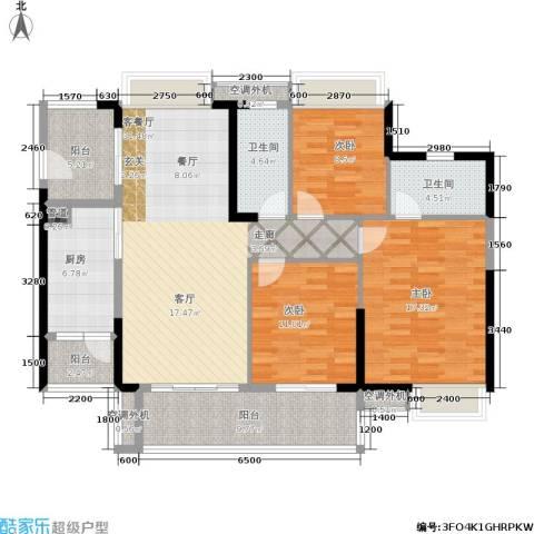 海伦堡・海伦春天3室1厅2卫1厨127.00㎡户型图