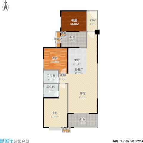 禹洲大学城3室1厅2卫1厨157.00㎡户型图
