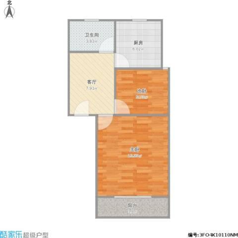 318037淞泽家园八区2室1厅1卫1厨60.00㎡户型图