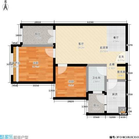 凤城国贸2室0厅1卫1厨75.00㎡户型图