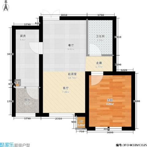 欣豪尚品1室0厅1卫1厨59.00㎡户型图
