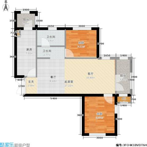 欣豪尚品2室0厅1卫1厨87.00㎡户型图