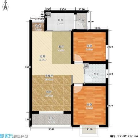 君廷上院2室1厅1卫1厨92.00㎡户型图