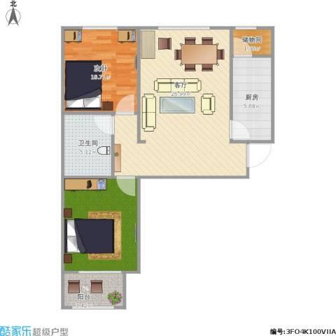 领世城邦2室1厅1卫1厨89.00㎡户型图