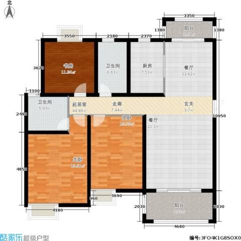 帝奥世伦名郡3室0厅2卫1厨142.00㎡户型图