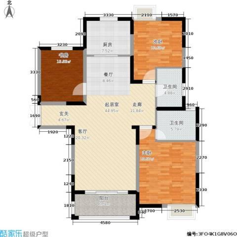 帝奥世伦名郡3室0厅2卫1厨126.00㎡户型图