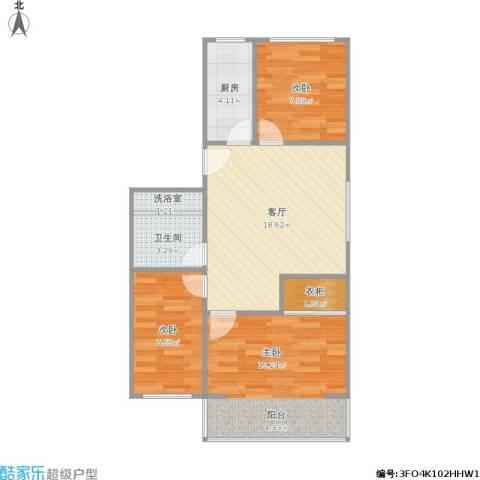 凤凰花园城3室1厅1卫1厨82.00㎡户型图