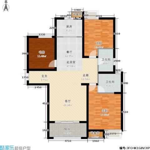 帝奥世伦名郡3室0厅2卫1厨132.00㎡户型图