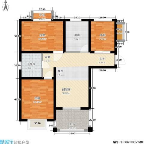 开祥天下城3室0厅1卫1厨88.00㎡户型图