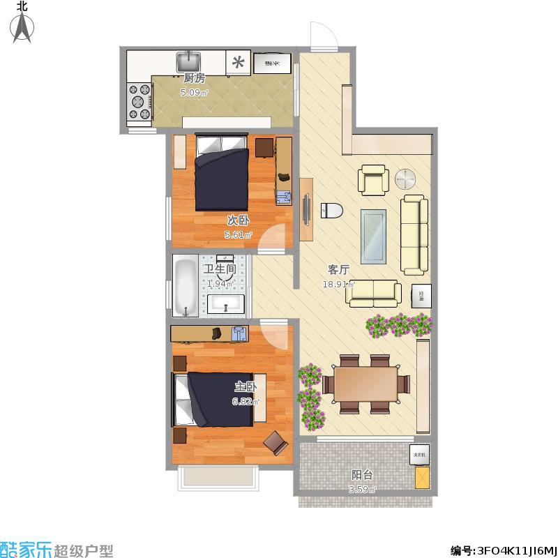紫薇永和坊104平两室两厅