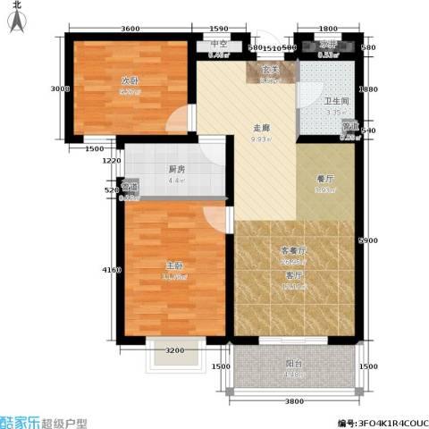 君廷上院2室1厅1卫1厨90.00㎡户型图