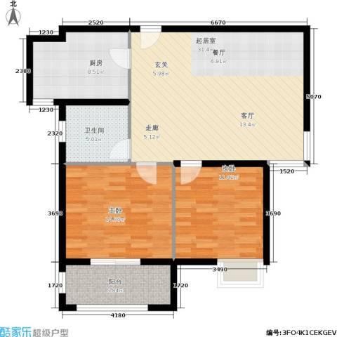 稽山御府天城2室0厅1卫1厨106.00㎡户型图