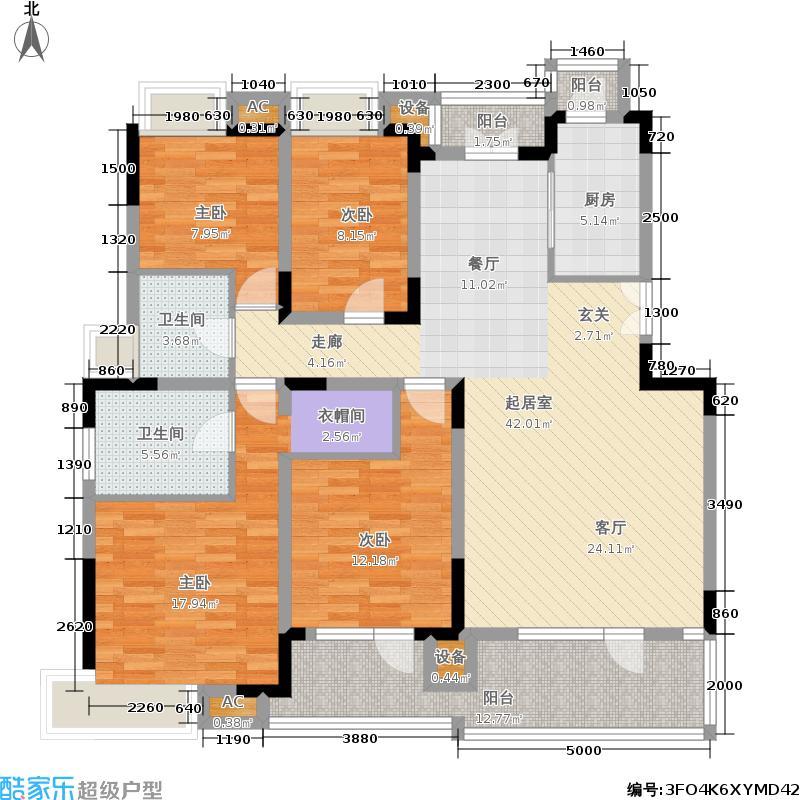 金地格林世界160.00㎡房型: 四房; 面积段: 160 -200 平方米;户型