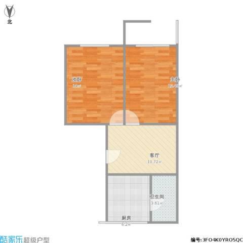 蔷薇八村2室1厅1卫1厨63.00㎡户型图