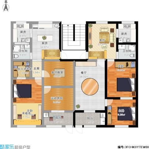 邮电新村3室2厅2卫3厨188.00㎡户型图