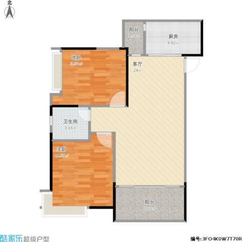 重庆巴南万达广场2室1厅1卫1厨82.00㎡户型图