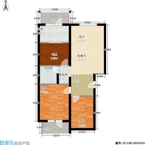 尧苑3室1厅1卫1厨109.00㎡户型图