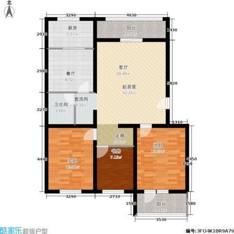 尧苑3室1厅1卫1厨134.00㎡户型图