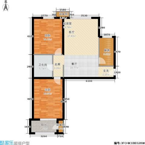 维多利亚广场2室0厅1卫1厨114.00㎡户型图