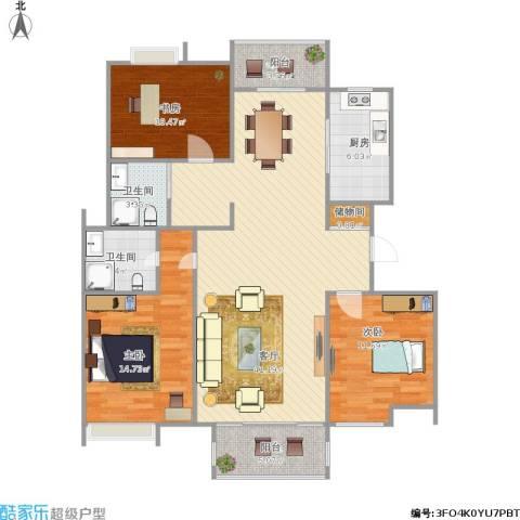 青山绿庭3室1厅2卫1厨136.00㎡户型图