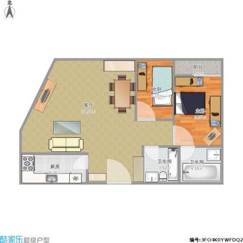 龙宝豪庭2室1厅2卫1厨88.00㎡户型图