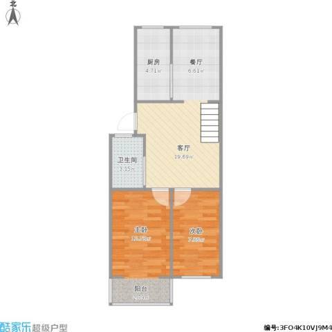 风光里2室1厅1卫1厨65.00㎡户型图