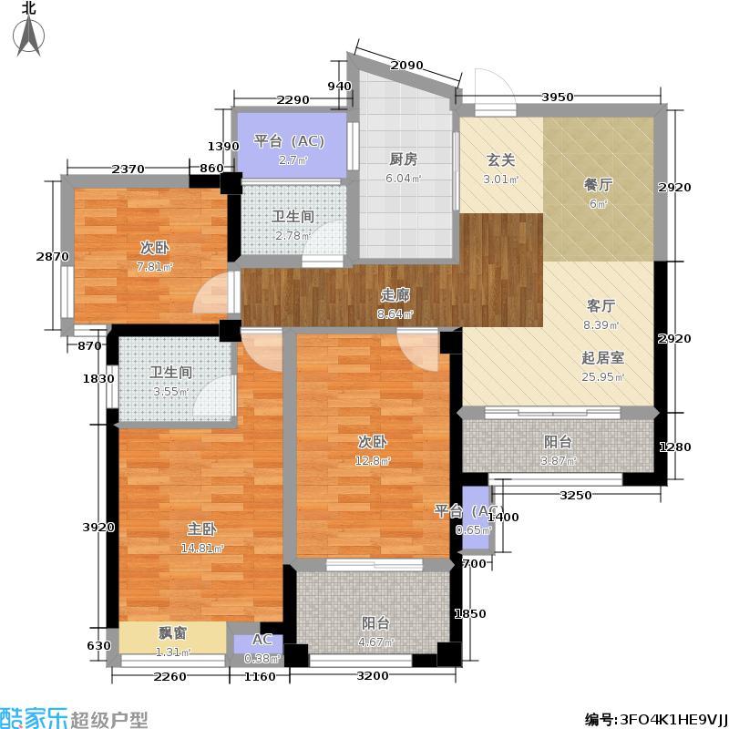 香开新城99.00㎡12#楼标准层南向A2户型