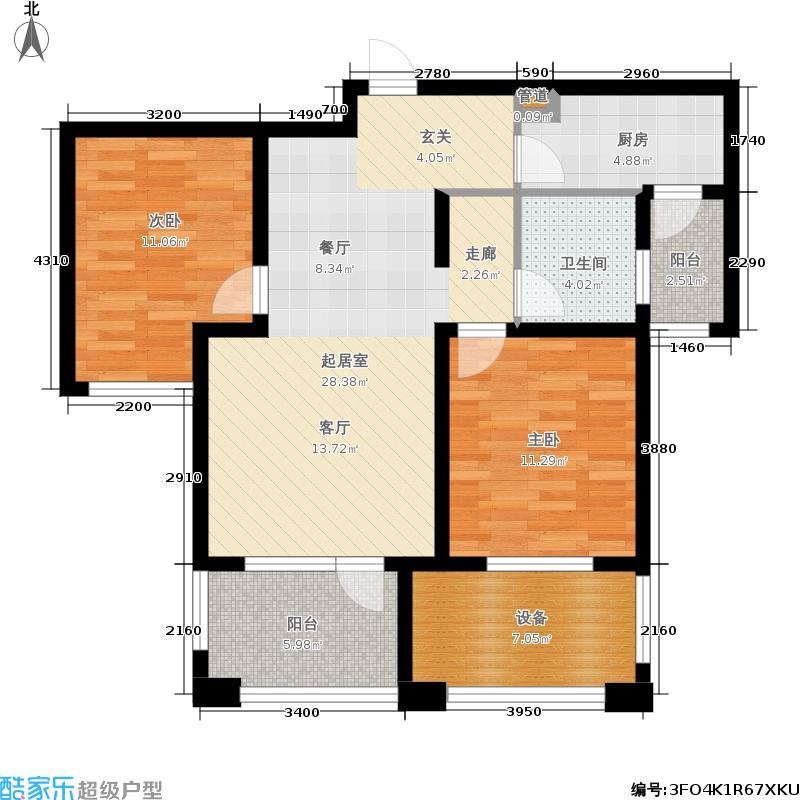 国赫红珊湾8#1-31奇数层B户型