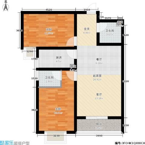 翠堤春晓2室0厅2卫1厨95.00㎡户型图