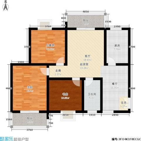 金色家园3室0厅1卫1厨116.00㎡户型图