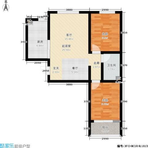 浅山逸景2室0厅1卫1厨85.00㎡户型图