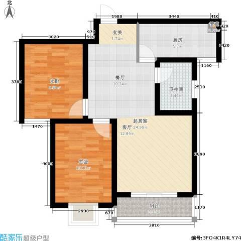 浅山逸景2室0厅1卫1厨84.00㎡户型图