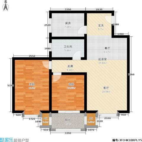 九州花园2室0厅1卫1厨121.00㎡户型图