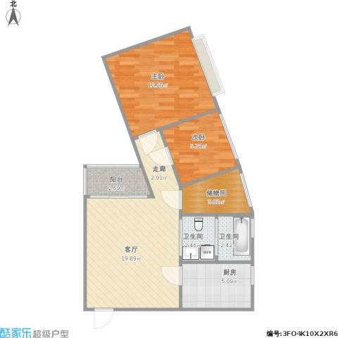 北邮家属院2室1厅2卫1厨74.00㎡户型图