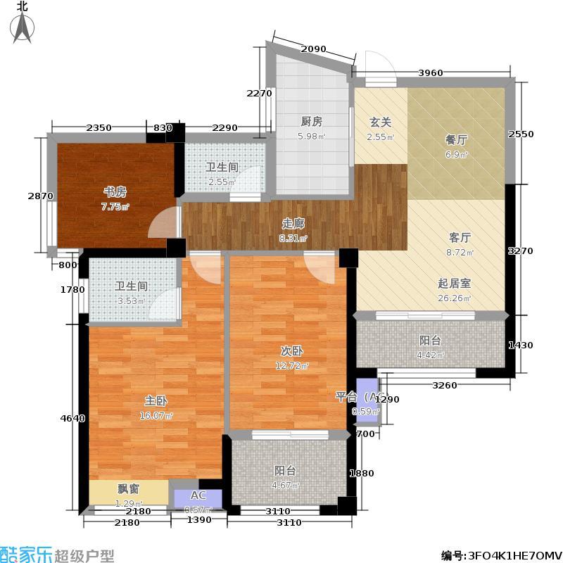 香开新城98.00㎡12#楼标准层南向A2户型